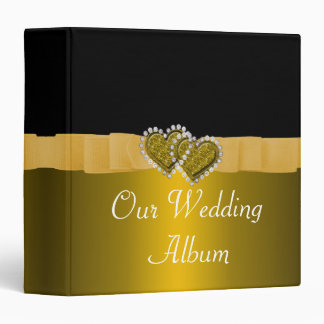 Gold & Black Diamond Locking Hearts Wedding Binder