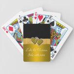 Gold & Black Diamond Locking Hearts Wedding Bicycle Playing Cards