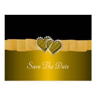 Gold & Black Diamond Locking Hearts Wedding Postcard