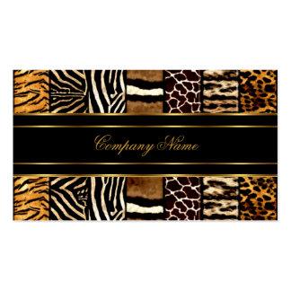 Gold Black Elegant Mixed Zebra Leopard Tiger Double-Sided Standard Business Cards (Pack Of 100)