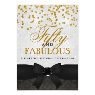 Gold & Black Fabulous 50th Birthday Party Invite