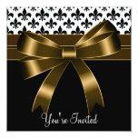 Gold & Black Fleur De Lis Party 5.25x5.25 Square Paper Invitation Card