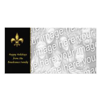 Gold Black Fleur de Lis Photo Christmas Photo Card