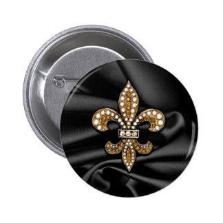 Gold Black Fleur De Lis Satin Jewel 2 Inch Round Button
