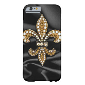 Gold Black Fleur De Lis Satin Jewel Barely There iPhone 6 Case