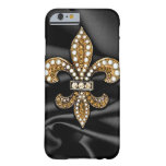 Gold Black Fleur De Lis Satin Jewel Barely There iPhone 6 Case