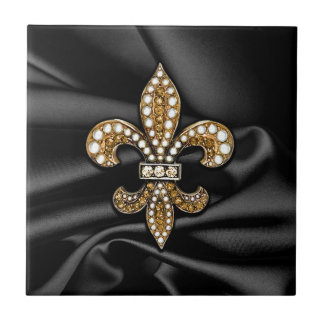 Gold Black Fleur De Lis Satin Jewel Ceramic Tile