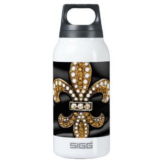 Gold Black Fleur De Lis Satin Jewel Insulated Water Bottle