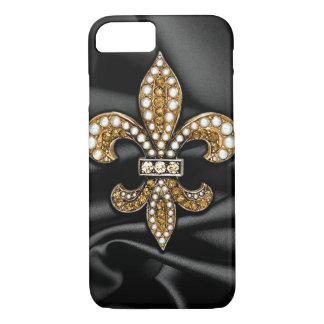 Gold Black Fleur De Lis Satin Jewel iPhone 8/7 Case