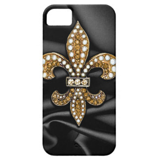 Gold Black Fleur De Lis Satin Jewel iPhone SE/5/5s Case