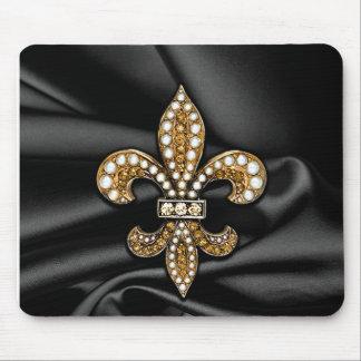 Gold Black Fleur De Lis Satin Jewel Mouse Pad