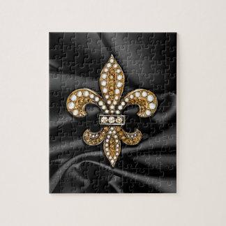 Gold Black Fleur De Lis Satin Jewel Puzzles