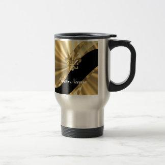 Gold & black fleur de lys 15 oz stainless steel travel mug