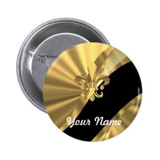 Gold & black fleur de lys 2 inch round button