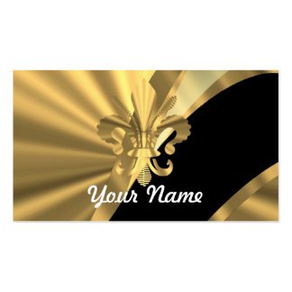 Gold & black fleur de lys Double-Sided standard business cards (Pack of 100)