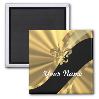 Gold & black fleur de lys magnet