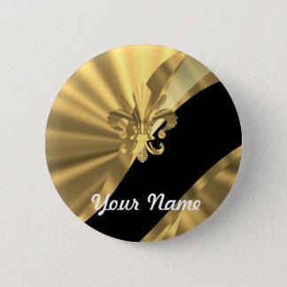 Gold & black fleur de lys pinback button