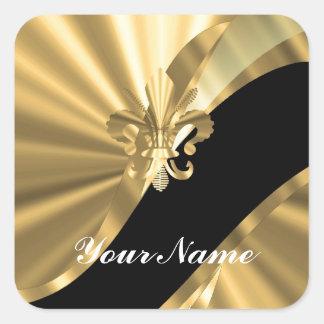 Gold & black fleur de lys square sticker