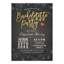 Gold & Black Floral Bachelorette Party Invitation