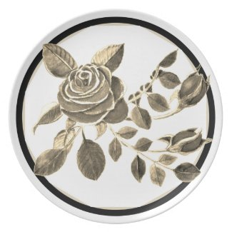 Gold Black Floral by Delynn Addams Dinner Plate