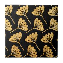Gold & Black Floral Ceramic Tile