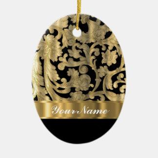 Gold & black floral damask ceramic ornament