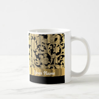 Gold & black floral damask coffee mug