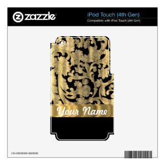 Gold & black floral damask decal for iPod touch 4G