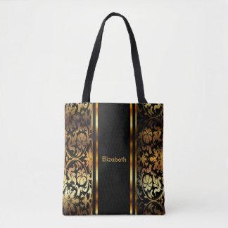 Gold & Black Floral Damask Design Tote Bag