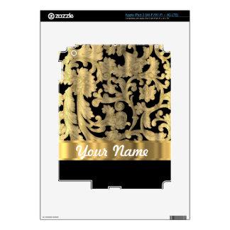 Gold & black floral damask iPad 3 skin