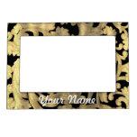 Gold & black floral damask picture frame magnet