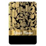 Gold & black floral damask rectangle magnets