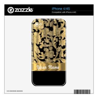 Gold & black floral damask skins for iPhone 4