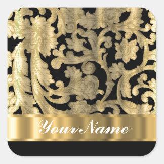 Gold & black floral damask square sticker