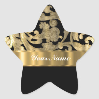 Gold & black floral damask star sticker
