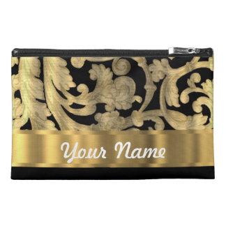 Gold & black floral damask travel accessory bag