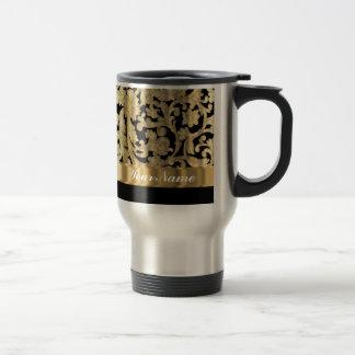 Gold & black floral damask travel mug