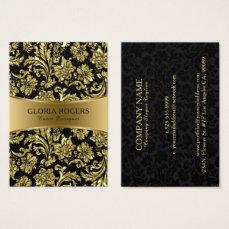 Gold & Black Floral Damasks Event Designer Templat Business Card