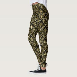 Gold & Black Floral Damasks Geometric Pattern Leggings