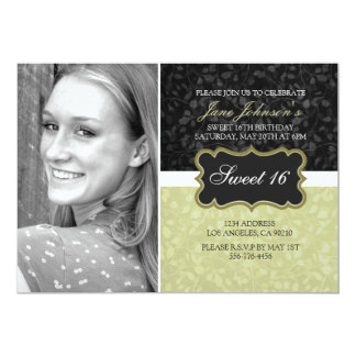 Gold & Black Floral Design Photo Sweet16 Invite