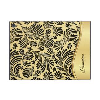 Gold Black Floral Folio iPad Mini Case