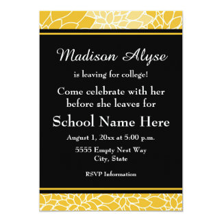 Gold Black Floral Going to College Party Invite