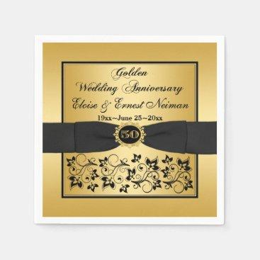 Gold, Black Floral Golden Anniversary Napkins 2 Standard Cocktail Napkin