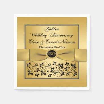 Gold, Black Floral Golden Anniversary Napkins Standard Cocktail Napkin