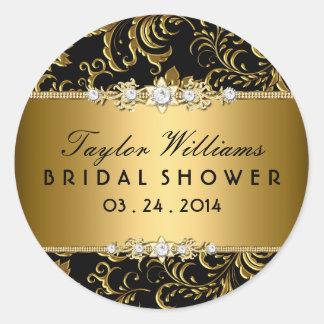 Gold & Black Floral Jewel Bridal Shower Sticker