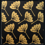 "Gold &amp; Black Floral Napkin<br><div class=""desc"">Modern gold &quot;foil&quot; flower pattern on black.</div>"