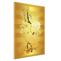 Gold & Black Floral Oriental style Wrapped Canvas Print