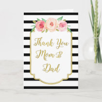 Gold Black Floral Parents Wedding Day Thank You