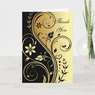 Gold & Black Floral Scroll Elegant Thank You Card
