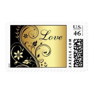 Gold & Black Floral Scroll Love Wedding Postage stamp